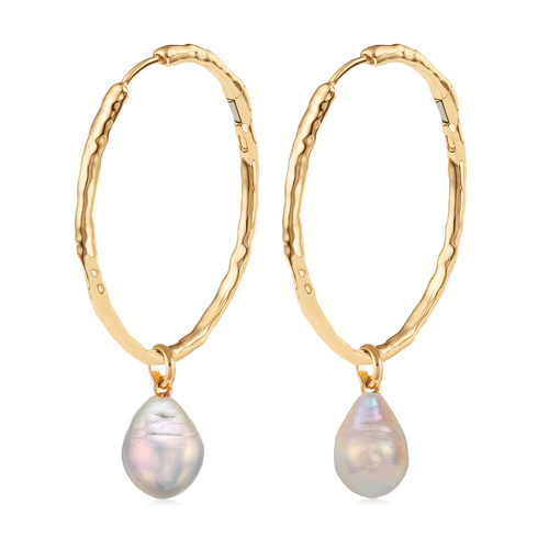Gold Vermeil Siren Muse Large Hoop and Pearl Earring Set - Monica Vinader