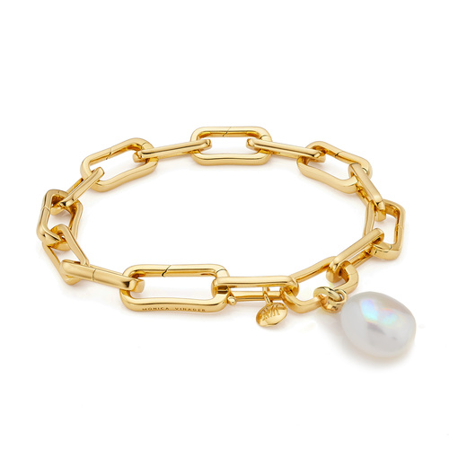 Gold Vermeil Alta Capture and Pearl Bracelet Set - Monica Vinader
