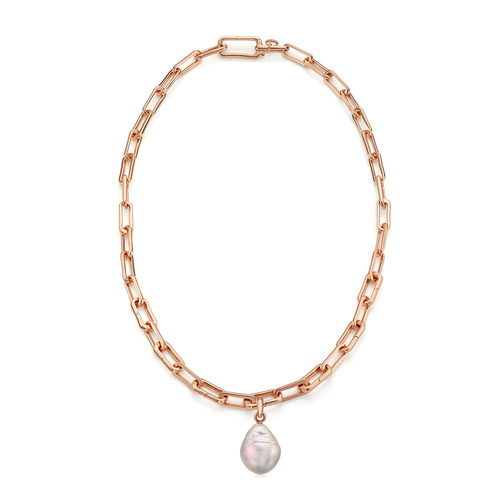 Rose Gold Vermeil Alta Capture and Pearl Necklace Set - Monica Vinader