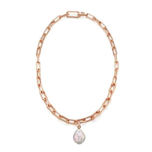 Rose Gold Vermeil Alta Capture and Pearl Necklace Set - Monica Vinader
