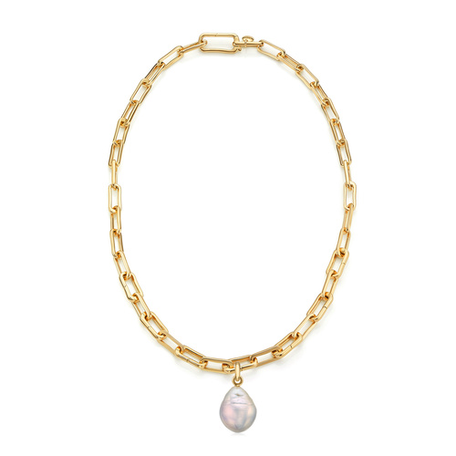 Gold Vermeil Alta Capture and Pearl Necklace Set - Monica Vinader