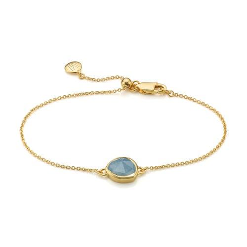 Gold Vermeil Siren Fine Chain Bracelet - Aquamarine - Monica Vinader