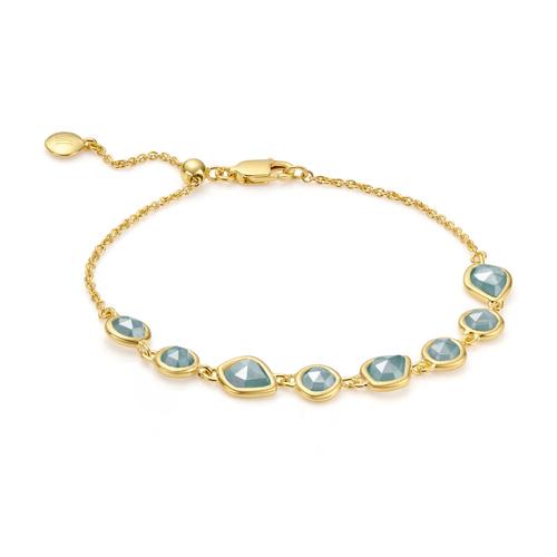 Gold Vermeil Siren Mini Nugget Cluster Bracelet - Aquamarine - Monica Vinader