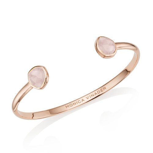 Rose Gold Vermeil Siren Thin Cuff - Large - Rose Quartz - Monica Vinader
