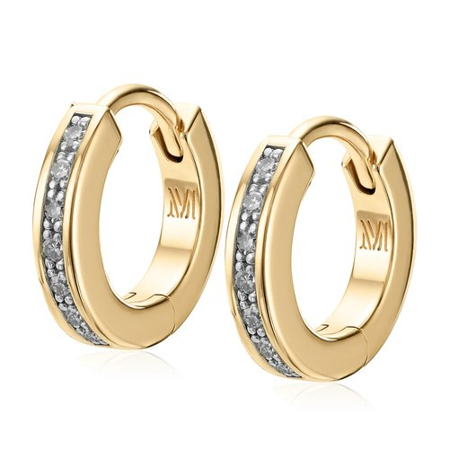 Gold Vermeil Skinny Huggie Diamond Earrings - Diamond - Monica Vinader
