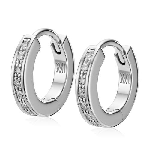 Sterling Silver Skinny Huggie Diamond Earrings - Diamond - Monica Vinader
