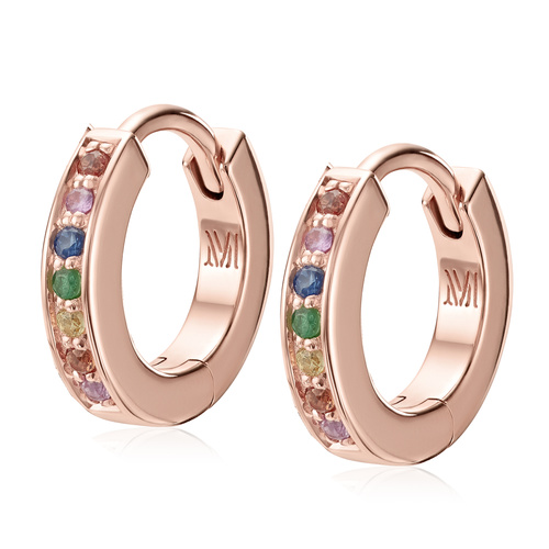 Rose Gold Vermeil Skinny Huggie Gemstone Earrings - Mix - Monica Vinader