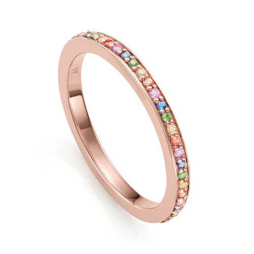 Rose Gold Vermeil Skinny Gemstone Eternity Ring - Mix - Monica Vinader