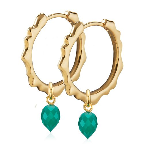 Gold Vermeil Siren Muse Small Hoop and Fiji Bud Earring Set- Green Onyx - Monica Vinader