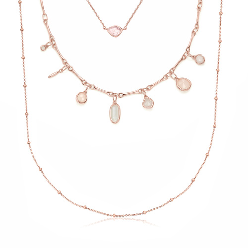 Rose Gold Vermeil Siren Mini Nugget, Siren Tonal and Beaded Chain Necklace Set - Monica Vinader