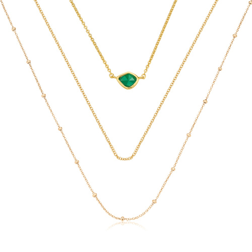 Gold Vermeil Siren Mini Nugget, Fine Chain and Beaded Chain Necklace Set - Monica Vinader