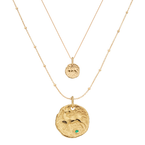 Gold Vermeil Siren Small and Large Coin Necklace Set - Monica Vinader