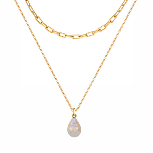 Gold Vermeil Alta Capture and Nura Baroque Pearl Necklace Set - Monica Vinader