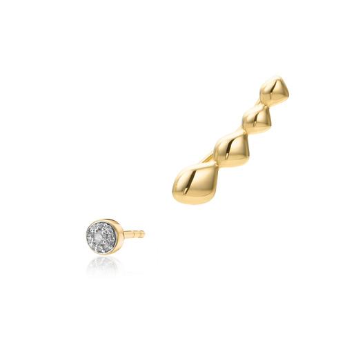 Gold Vermeil Nura Climber and Fiji Tiny Button Earring - Monica Vinader
