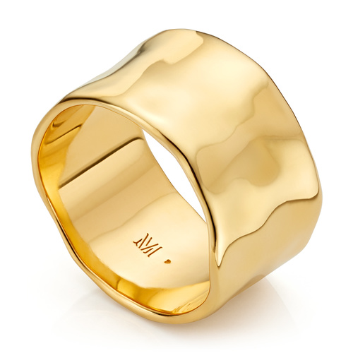 Gold Vermeil Siren Muse Wide Ring - Monica Vinader
