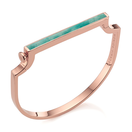 Rose Gold Vermeil Signature Thin Gemstone Bangle - Amazonite - Monica Vinader