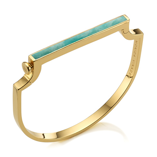 Gold Vermeil Signature Thin Gemstone Bangle - Amazonite - Monica Vinader