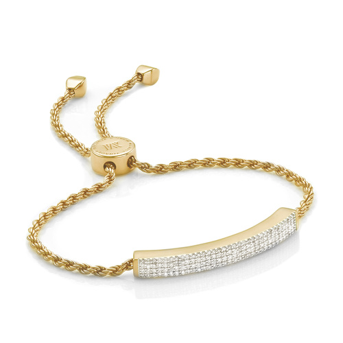Gold Vermeil Linear Pave Diamond Bracelet - Diamond - Monica Vinader