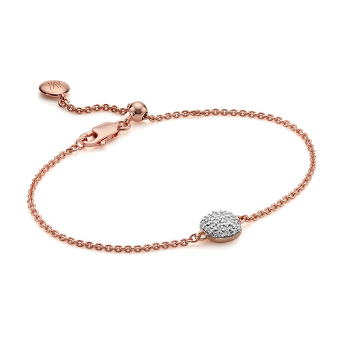 Rose Gold Vermeil Nura Mini Nugget Diamond Bracelet - Diamond - Monica Vinader