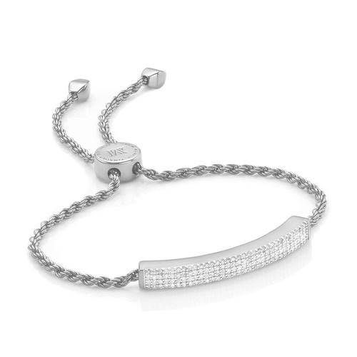 Sterling Silver Linear Pave Diamond Bracelet - Diamond - Monica Vinader