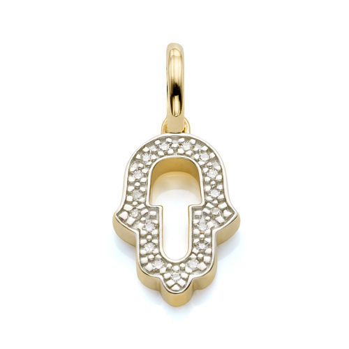 Gold Vermeil Alphabet Hamsa Diamond Pendant Charm - Diamond - Monica Vinader