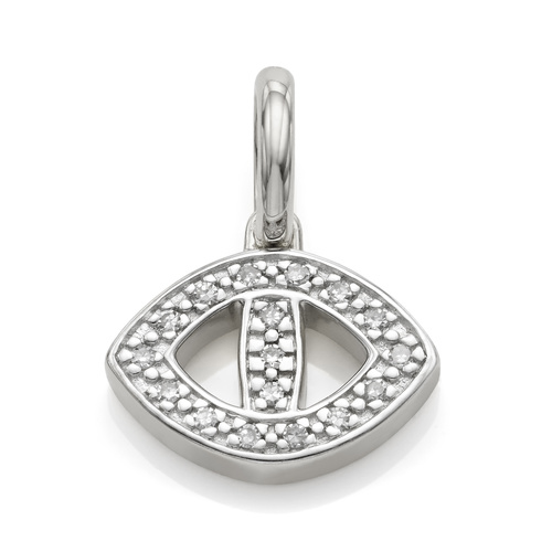Sterling Silver Alphabet Evil Eye Diamond Pendant Charm - Diamond - Monica Vinader