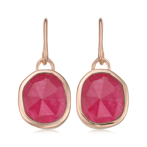 Rose Gold Vermeil Siren Wire Earrings - Pink Quartz - Monica Vinader