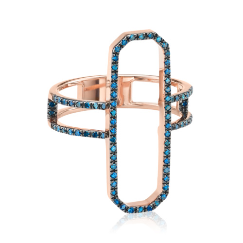 Rose Gold Vermeil Naida Cocktail Ring - Blue Diamond - Monica Vinader