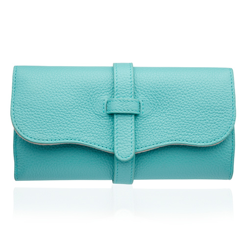 Leather Personalised Leather Jewellery Roll  - Turquoise - Monica Vinader