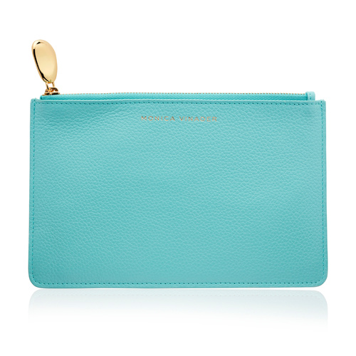 Leather Medium Leather Pouch  - Turquoise - Monica Vinader