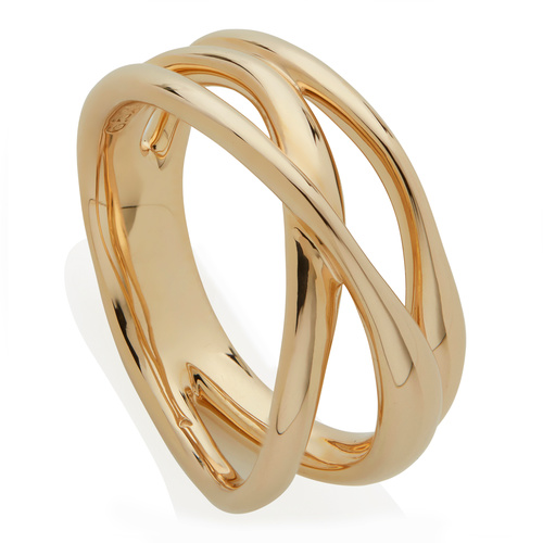 Gold Vermeil Nura Cross Over Ring - Monica Vinader