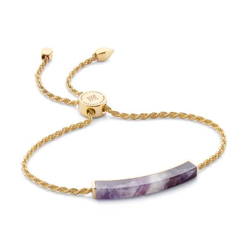 Gold Vermeil Linear Stone Bracelet - Amethyst - Monica Vinader