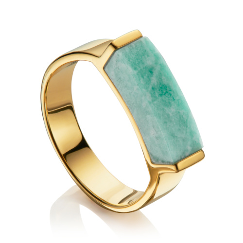 Gold Vermeil Linear Stone Ring - Amazonite - Monica Vinader