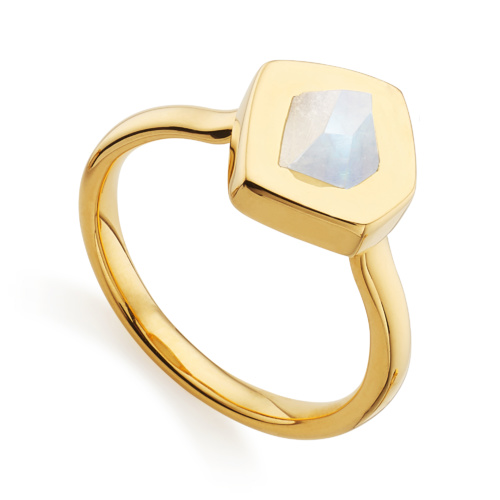 Gold Vermeil Petra Stacking Ring - Moonstone - Monica Vinader
