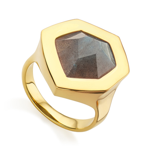 Gold Vermeil Petra Cocktail Ring - Labradorite - Monica Vinader