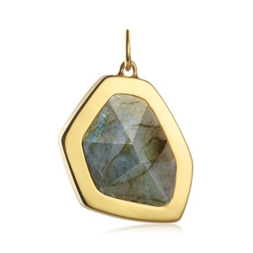 Gold Vermeil Petra Large Pendant Charm - Labradorite - Monica Vinader
