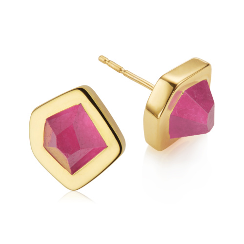 Gold Vermeil Petra Stud Earrings - Pink Quartz - Monica Vinader
