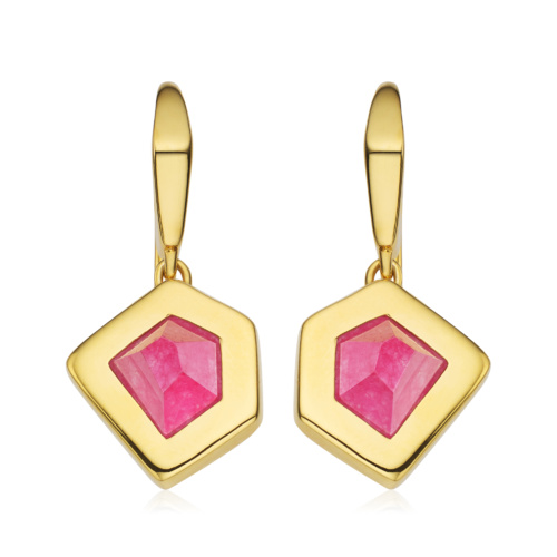 Gold Vermeil Petra Wire Earrings - Pink Quartz - Monica Vinader