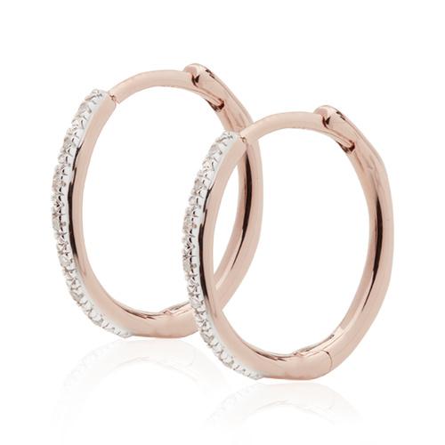 Rose Gold Vermeil Riva Wave Medium Hoop Diamond Earrings - Diamond - Monica Vinader