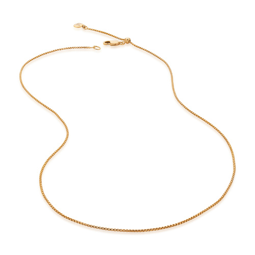 Gold Vermeil Fine Oval Box Chain 18