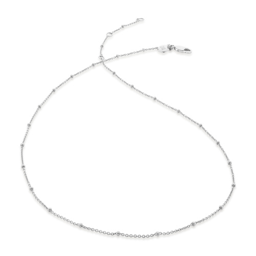 "Sterling Silver Fine Beaded 16"" - 18"" Chain - Monica Vinader"