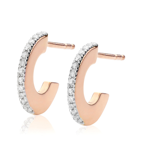 Rose Gold Vermeil Naida Small Hoop Earrings - Diamond - Monica Vinader
