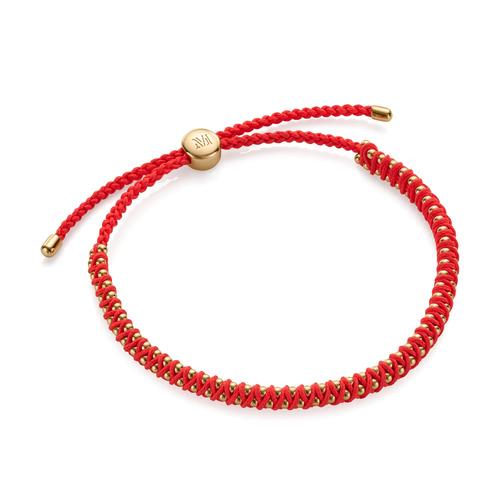 Gold Vermeil Rio Mini Friendship Bracelet - Fluro Coral - Monica Vinader