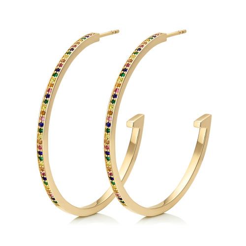 Gold Vermeil Skinny Sapphire Large Hoop Earrings - Mix - Monica Vinader