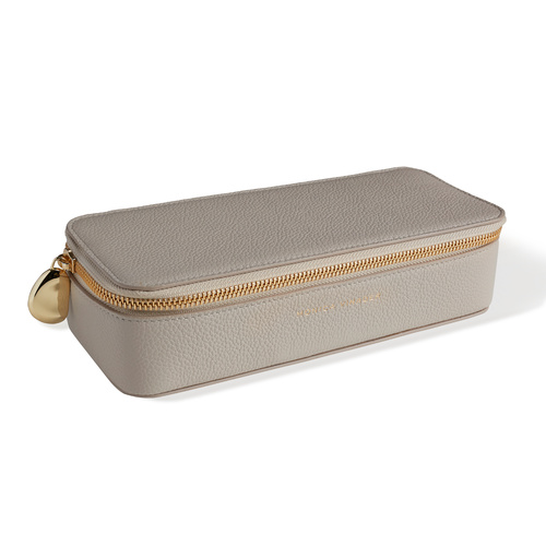 Leather Personalised Large Leather Trinket Box with dustbag - Pebble Grey - Monica Vinader