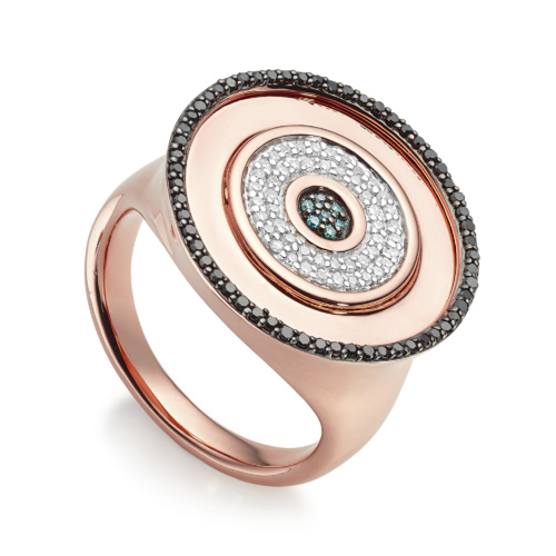 Rose Gold Vermeil Evil Eye Disc Cocktail Ring - Black Blue and White Diamonds - Monica Vinader
