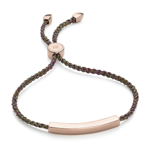 Rose Gold Vermeil Linear Friendship Bracelet - Rainbow Metallica - Monica Vinader