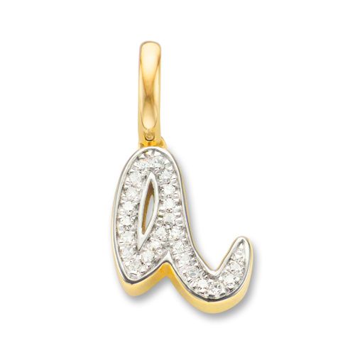 Gold Vermeil Alphabet A Diamond Pendant Charm - Diamond - Monica Vinader