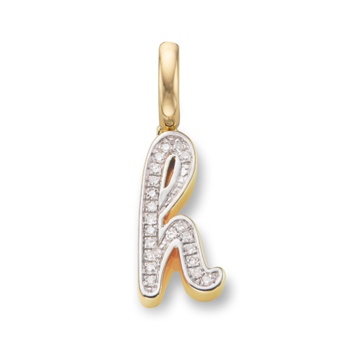 Gold Vermeil Alphabet H Diamond Pendant Charm - Diamond - Monica Vinader
