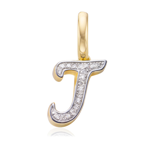 Gold Vermeil Alphabet J Diamond Pendant Charm - Diamond - Monica Vinader
